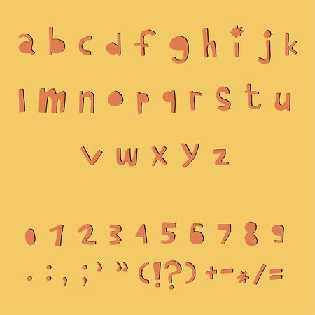 Carved alphabet number and punctuation marks. Rustic font. Vector ABC. Latin letters Ilustração Vetorial