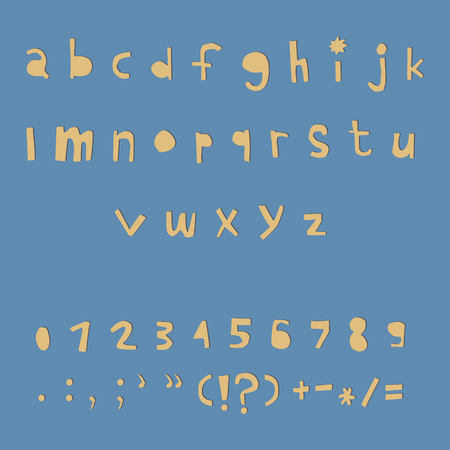 Carved alphabet number and punctuation marks. Rustic font. Vector ABC