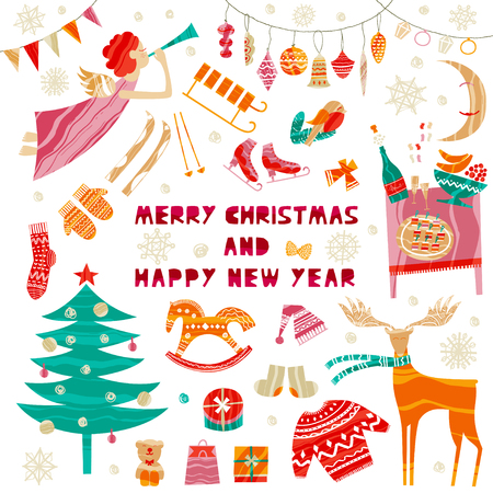 Collection of Christmas and New Year elements for greeting card design. Xmas set of characters. Winter holiday objects. Vector flat design with texture