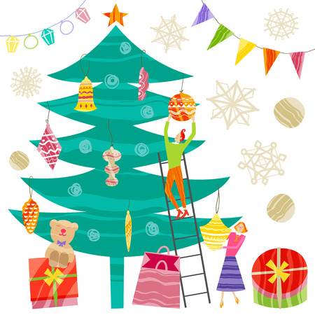 Sammlung von Weihnachts- und Neujahrselementen. Vektor flaches Design mit Textur Standard-Bild