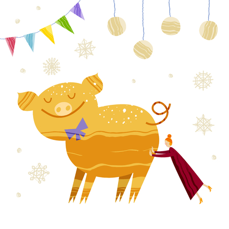 Little woman is pushing pig. Christmas and New Year elements with lettering. Xmas greeting card concept. Winter holiday objects. Vector flat design with texture