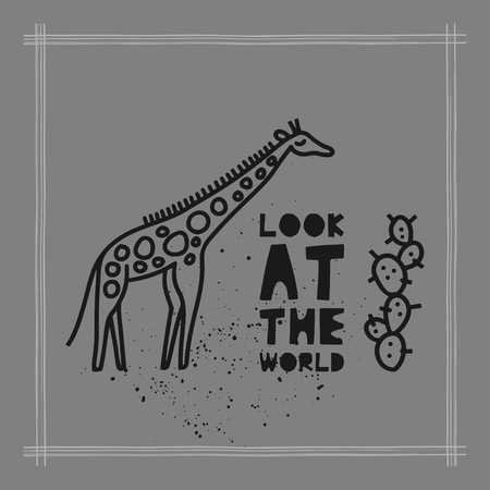 Travel card concept with giraffe and text 'look at the world' Doodle style. Vector illustration