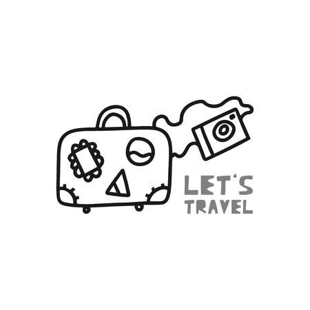 Travel card concept with luggage, camera and text. Doodle style. Vector illustration Ilustração