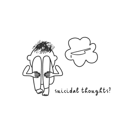 Depression symptom concept. Suicidal thoughts. Vector illustration of problems of mental health. Doodle style