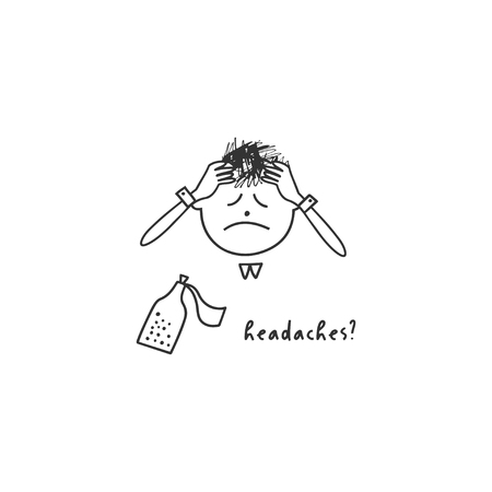 Depression symptom concept. Headache. Vector illustration of problems of mental health. Doodle style