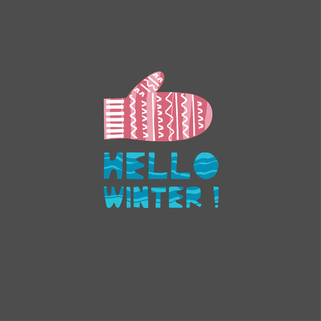 Christmas and New Year elements with lettering. Xmas greeting card concept. Winter holiday objects. Vector flat design with texture