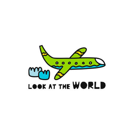Travel card concept with plane and text 'look at the world' Doodle style. Vector illustration