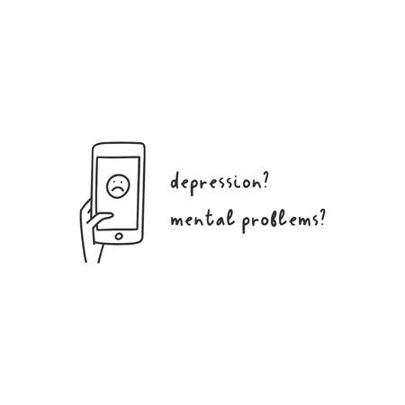 Depression symptom concept. Vector illustration of problems of mental health. Doodle style