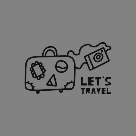 Travel card concept with luggage, camera and text. Doodle style. Vector illustration