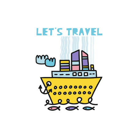 Travel card concept with ship and text. Doodle style. Vector illustration Иллюстрация