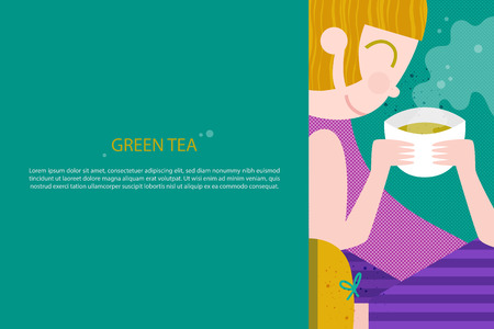 Girl with coffee or tea or soup. Girl with chinese or japanese or korean food. Template for your advertising text. Vector illustration in a flat style