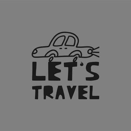 Travel card concept with car and text 'let's travel' Doodle style. Vector illustration