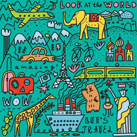 Travel set with lettering. Hand drawn vector illustration. Doodle style. Popular world symbols of tourism and traveling. Transport, luggage, sights, mountains, animals, plants