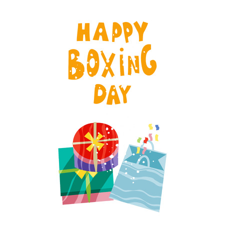 Palm tree and gifts in boxes. Happy Boxing Day concept. Vector illustration in flat style Illustration