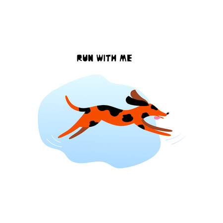 Running dog concept. Cartoon charming puppy with lettering isolated on white background. Vector illustration design in flat style