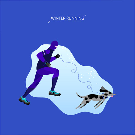 Winter running concept. Young athletic man with dog doing jogging. Pet with a leash and collar. Vector illustration in flat style