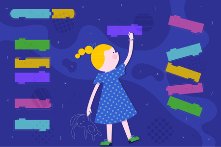 Cute smart girl is coding on abstract screen. Children coding and code training design concept in flat style. Cartoon vector illustration Çizim