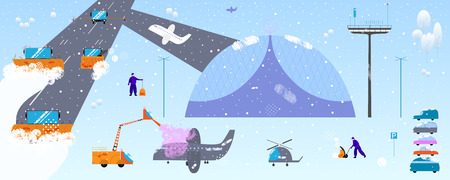 Snow and ice removal concept. Snow plow machines removal snow from runway at airport. Defrost on airplane. Tiny people do road and parking cleaning. Vector illustration in modern cartoon flat style