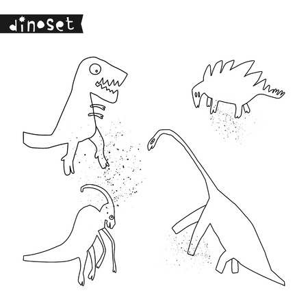 Set of hand drawn dinosaurs. Sketch Jurassic reptiles. Collection of funny doodle cartoon dino for textile, t-shirts, kids game. Vector illustration