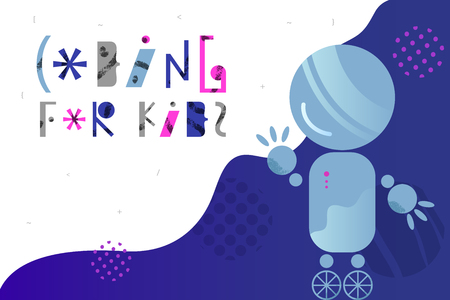 Abstract background with charming robot and lettering for children coding design concept in flat style. Cartoon vector illustration