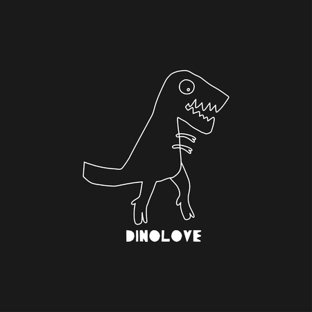 Hand drawn dinosaur with lettering. Jurassic reptile concept. Sketch Tyrannosaurus Rex doodle character. Isolated cute dino for textile, t-shirts, kids game. Vector illustration