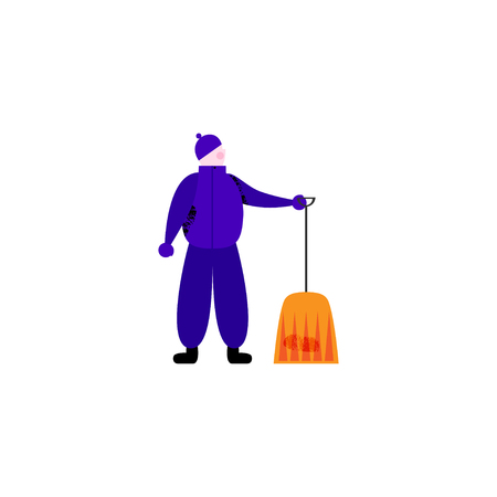 Janitor in warm clothes holding contemporary shovel for outdoor works