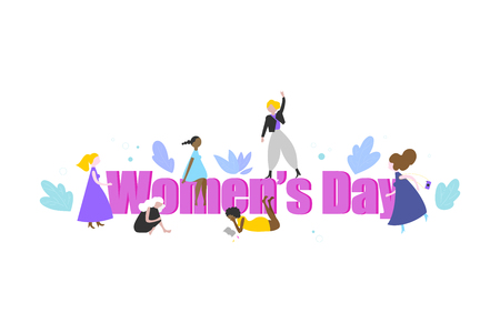 Womens Day vector banner template. Diverse group of female flat characters having fun together. Different women character types. 8 March, feminism protest, gender equality concept