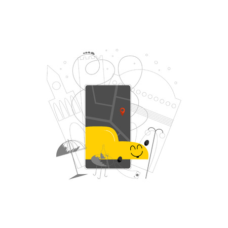 Rideharing mobile app hand drawn color illustration. Happy auto kawaii character. Carpooling flat drawing. Vehicle rental smartphone application cartoon clipart. Taxi service isolated design element Stockfoto - 124991054