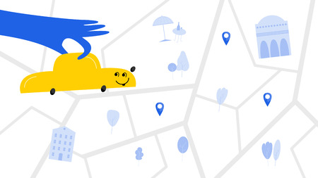 Taxi service hand drawn vector color illustration. Hand holds automobile flat drawing. Happy vehicle kawaii character. Car rental, booking map cartoon clipart. Ridesharing webpage, banner flat design Фото со стока - 124882987