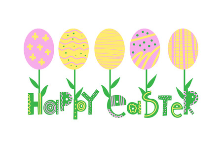 Easter greeting card, banner flat vector template Illustration