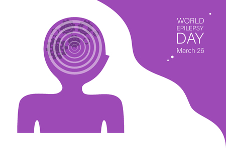 World epilepsy day vector banner template. Purple day raising awareness. Mental diseases, neurology disorders. Abstract human head silhouette with cogwheels mechanism in brain. Poster, booklet design Stock Illustratie