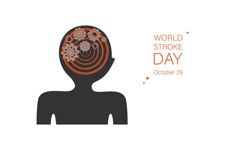 International world stroke day banner template. Abstract human silhouette with gears, wheels in brain color illustration. Dizziness, headache, brain disease. Illness prevention poster with text space