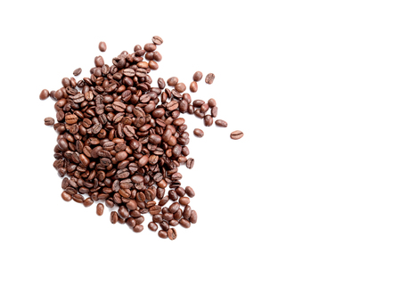 Coffee beans from above isolated on white background with copy space Stockfoto