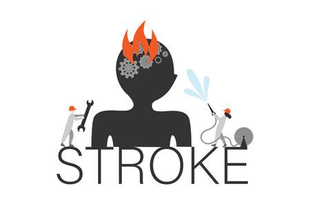 Brain stroke word concept banner. Cerebral infarction metaphor. Cartoon firefighter and mechanic repair brain apoplexy. Stroke first aid. Neurology treatment poster, booklet design element Illustration