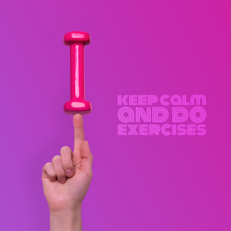 Woman finger hand taking easy pink dumbbell isolated on trendy pink gradient background. Sports healthy lifestyle levitation concept with text