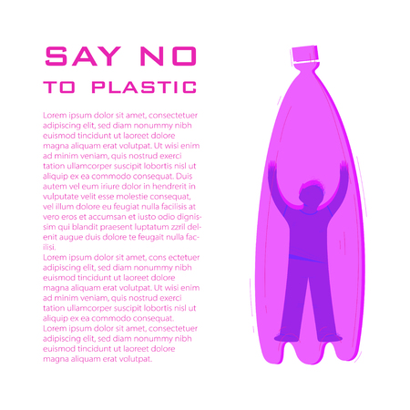 Say no to plastic article page flat vector layout. Person inside bottle cartoon character. Zero waste philosophy illustration with text space. Trash recycle, pollution reduce banner concept