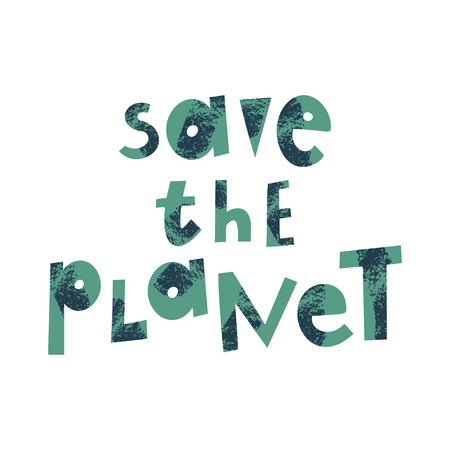 Save the planet cartoon lettering. Environment protection, ecology. Motivational phrase vector clipart. Earth Day postcard design element. Eco conservation. Slogan with grunge texture 일러스트