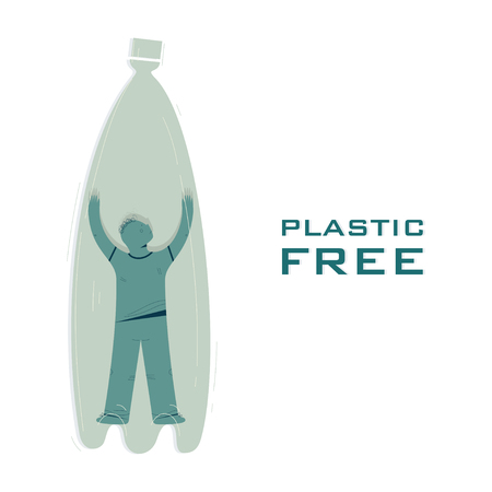 Plastic free, waste recycle vector banner template. Guy trapped inside bottle cartoon character. Ecology protection, save nature poster idea. Garbage reduce illustration with typography