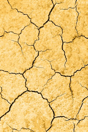 Waterless planet. Dry yellow cracked earth. Hot climate and drought concept. Desert background
