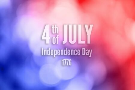 Abstract patriotic red blue sparkle glitter background with text 4th of July. Independent Day concept Stock Photo