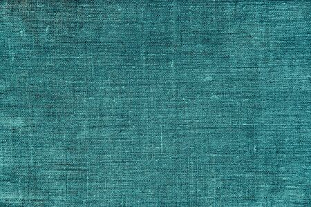 Natural eco tirquoise linen background with copyspace