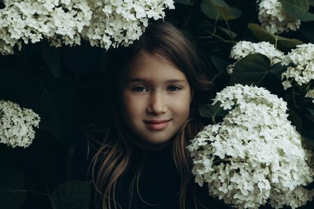 Cute little girl in blooming hydrangeas. Person and flowers on dark natural background. Child enjoying bouquet outside. Going to park, forest in summer and spring. Connection with nature idea Banco de Imagens