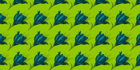 Blue lilies on green background trend flat lay concept with fashionable toning. Many flowers pattern