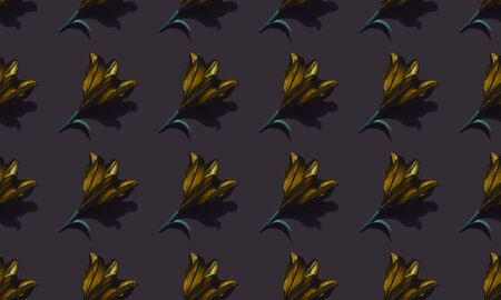 Seamless pattern of golden lilies on dark background trend flat lay concept with fashionable toning. Many flowers pattern Banco de Imagens
