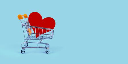Shopping cart with heart on blue background. Metal trolley, pushcart with abstract like sign on turquoise backdrop with copyspace. Shopper accessory, consumerism and commerce symbol