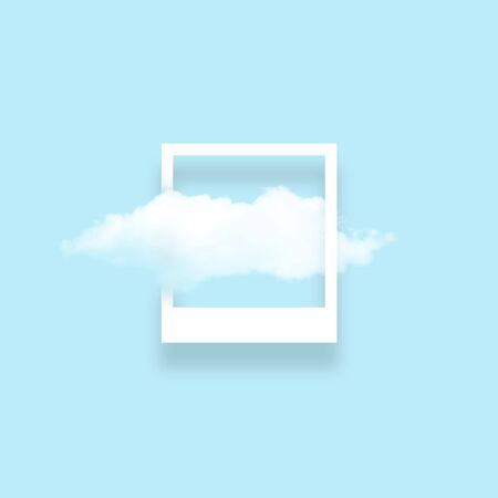 White cloud in snapshot frame illustration. Rectangular border with cotton candy isolated on baby blue color background. Creative artistic composition, stylish cloud photo on turquoise backdrop Imagens - 134935168