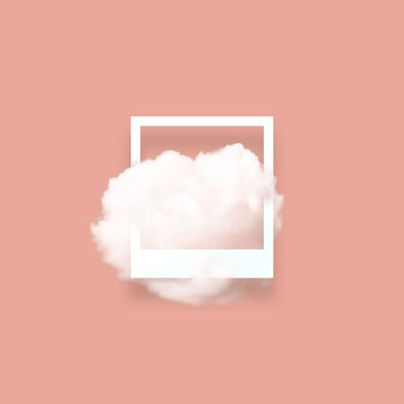 Soft sky cloud in photo frame illustration. Square white border with fluffy cotton candy isolated on blush pink color background. Creative artistic composition, minimalistic stylish design element Imagens - 134922308