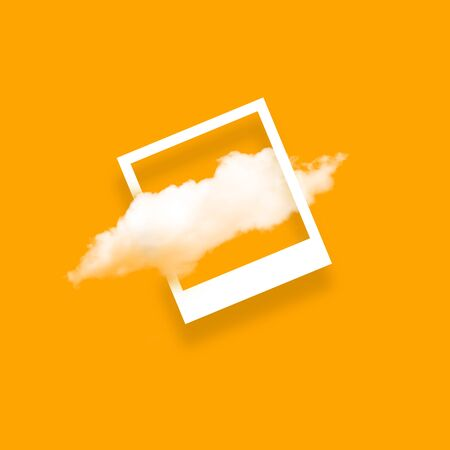 White cloud in snapshot frame illustration. Rectangular border with cotton candy isolated on yellow color background. Creative artistic composition, stylish cloud photo on bright backdrop