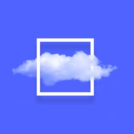 White cloud in snapshot frame illustration. Rectangular border with cotton candy isolated on bright blue color background. Creative artistic composition, stylish cloud photo on turquoise backdrop