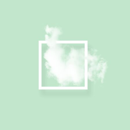 Soft sky cloud in photo frame illustration. Square white border with fluffy cotton candy isolated on blush green color background. Creative artistic composition, minimalistic stylish design element
